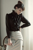 ขาย Cyber Ol Business Ruffle Stand Lapel Collar Shirt Blouse Tops Black ผู้ค้าส่ง