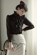 Cyber Ol Business Ruffle Stand Lapel Collar Shirt Blouse Tops Black Thailand