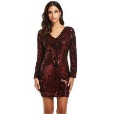 ส่วนลด Cyber Top Sale Women S V Neck Long Sleeve Sequined Cocktail Bodycon Mini Dress Red Intl