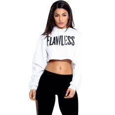 ซื้อ Cyber Women Letters Print Crop Hoodie Sweatshirt Short Pullover Tops Coat White ออนไลน์