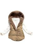 ซื้อ Cyber Women Plus Size Slim Jacket Hoodie Vest Coat Waistcoat Brown ออนไลน์ ถูก