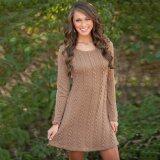 ราคา ราคาถูกที่สุด Cyber Women Sweet Casual O Neck Long Sleeve Knitting Dress Solid Mini Dress Brown