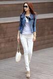ขาย ไซเบอร์พังค์เสื้อยีนส์ของผู้หญิงมีซิปเสื้อตัวนอกเสื้อคลุมแจ็กเก็ตยีนบาง สีน้ำเงิน ถูก ใน ฮ่องกง