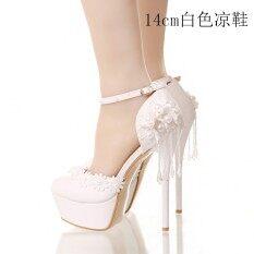 สีขาวลูกไม้มุกสูงด้วยรองเท้าแต่งงานรองเท้าเจ้าสาว D รุ่นสีขาวรองเท้าแตะ 14 Cm ฮ่องกง