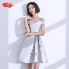 ซื้อ น้องสาวเกาหลีผอมปาร์ตี้ชุดแต่งงานชุดเดรสชุดแต่งงาน สีเงินสีเทา D รุ่น Unbranded Generic ถูก