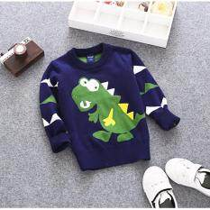 ขาย D2Kids เสื้อไหมพรมเด็กชายลายไดโนเสาร์ สีน้ำเงินเข้ม ออนไลน์