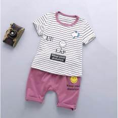 D2kids ชุดเซ็ตเสื้อยืดแขนสั้นสีขาว+กางเกงสีชมพู