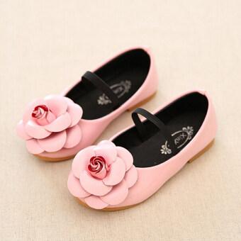 วันเด็กของเด็กแฟชั่นลำลองน่ารักดอกไม้พื้นรองเท้ายางรองเท้าหนัง Pu\nI95 สีชมพู