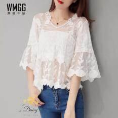 ขาย Daisy เสื้อลูกไม้ เกาหลี คอวี Risa035L สีขาว Daisy เป็นต้นฉบับ