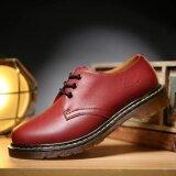 ราคา ราคาถูกที่สุด Danji Men Leather Shoes Casual New 2017 Genuine Leather Shoes Men Oxford Fashion Lace Up Dress Shoes Outdoor Work Shoes Red Intl
