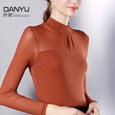 ขาย ซื้อ ออนไลน์ Danyu ฤดูใบไม้ผลิและฤดูใบไม้ร่วงเซ็กซี่เส้นด้ายสุทธิขนาดเล็กคอสูง สีคาราเมล
