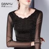 ซื้อ Danyu Filigree หูไม้ใหม่แขนยาว Bottoming เสื้อผ้าแฟชั่น เสื้อ สีดำ ออนไลน์