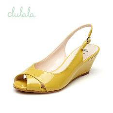 ราคา ราคาถูกที่สุด Daphne รองเท้าส้นสูงหัวปลาคำหัวเข็มขัดรองเท้ากันลื่นรองเท้าแตะ สีเหลือง 131