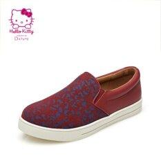 โปรโมชั่น Daphne รองเท้าแบนพิมพ์เหยียบ สีแดงเข้ม Unbranded Generic