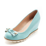 ส่วนลด Daphne ส้นสูงรองเท้าหนังสิทธิบัตรหวานรองเท้ารอบ สีฟ้า ฮ่องกง