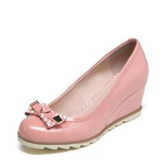 ส่วนลด Daphne ส้นสูงรองเท้าหนังสิทธิบัตรหวานรองเท้ารอบ ผงสีส้ม Thailand