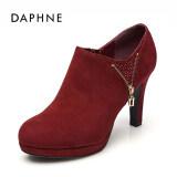 ราคา Daphne แฟชั่น Rhinestone รองเท้าส้นสูงกันน้ำเคลือบรองเท้า สีแดงเข้ม 124 ใหม่ ถูก
