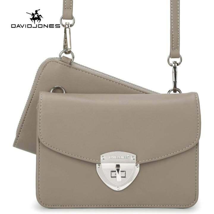 แนะนำ DAVIDJONES 2 Piece Women Crossbody bag evening Purse Bag Vintage Handbags (GREY) – intl