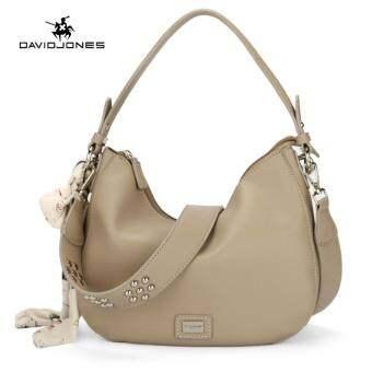 ซื้อที่ไหน DAVIDJONES Women Mini hobo Ribbon scarf shoulderbag PU femal handbag – intl