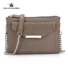 ราคา Davidjones Women Serpentine Shoulderbag Pu Envelope Bags Evening Purse(Taupe) Intl David Jones