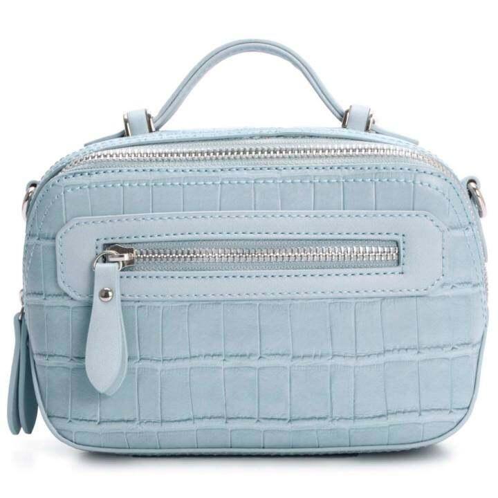 แนะนำ DAVIDJONES Women Crossbody bag serpentine Messenger (BLUE)