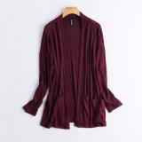 ซื้อ หญิงเวตเตอร์ถักเสื้อกันหนาวส่วนยาวหลวมผอม ม่วง Db8 ใน ฮ่องกง
