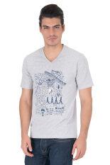 ราคา Delon เสื้อยืดคอวี At53029 สีเทา Topdye สกรีนสีกรม ที่สุด