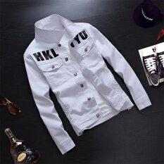 ซื้อ Denim Jacket Jacket Male Slim Young Print Multicolor Mens Blouse White Intl ใหม่