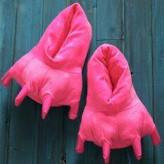 Dinosaur Claws Animal Plush Indoor Home Shoes Rose เป็นต้นฉบับ