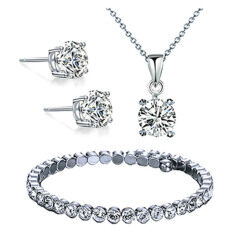 ราคา Diva Designs Austrian Crystal 4 Prong Necklace And Earring And Bracelet Set With 18 Inch Link Chain And Extender เซทคริสตัลสร้อย กำไล ต่างหู ออนไลน์