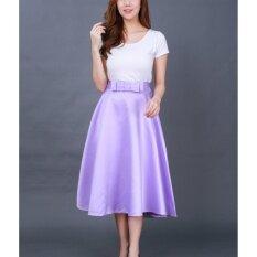ราคา Diversion Shop กระโปรงแฟชั่น เนื้อผ้า Silk ดัชเช่ ทรงบานยั่วย สั้น แต่งโบว์หน้า สีม่วง Lady Fashion เป็นต้นฉบับ