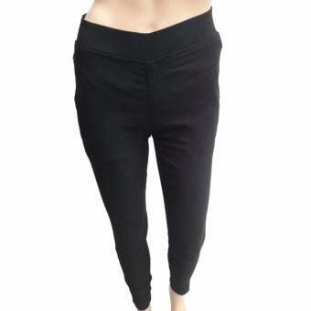 กางเกงผู้หญิง DODG ชิโน่ สกินนี่ รัดเข้ารูป ผ้ายืดสีดำ-