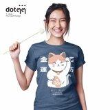 ราคา Dotdotdot เสื้อยืดผู้หญิง Concept Design Lucky Cat Blue ใหม่ ถูก