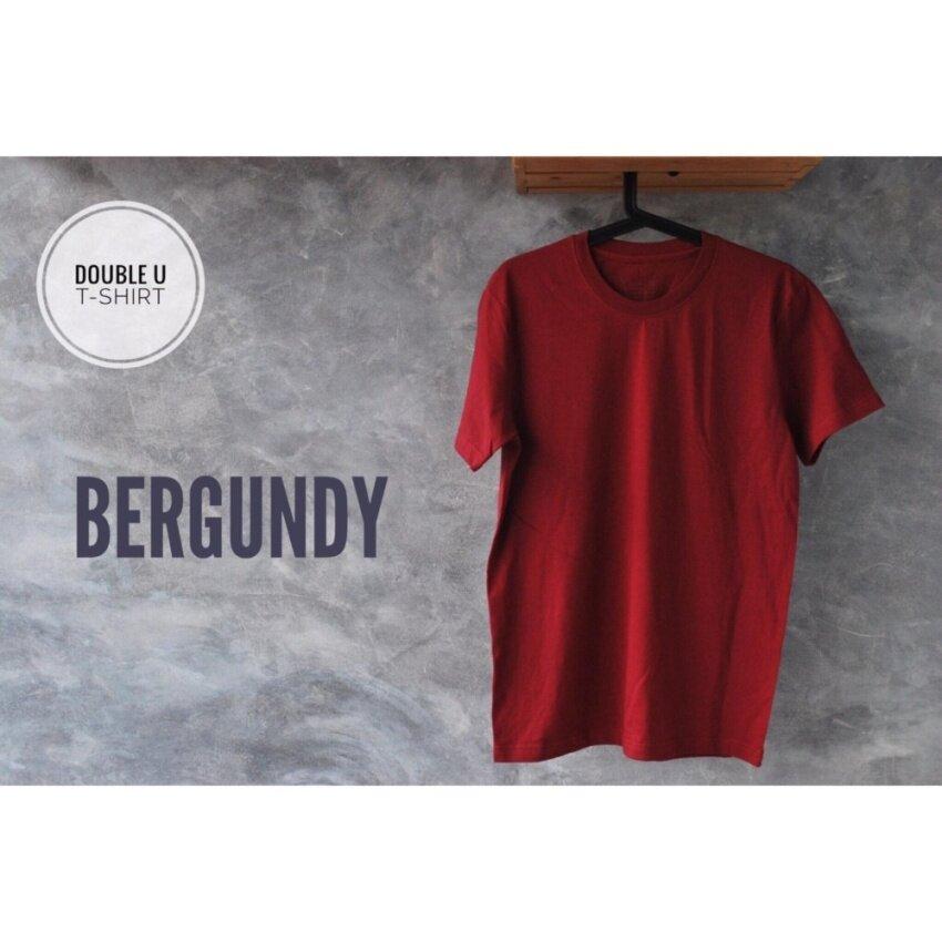 ★  ลดราคา Double U T-Shirt เสื้อยืดสีพื้น Bergundy (สีแดงเลือดหมู)  ราคาน่าสนใจรีบสั่งซื้อก่อนสินค้าจะหมด  Mens Casual Tops