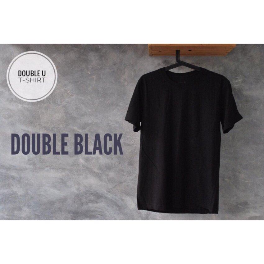 รอลดราคา Double U T-Shirt เสื้อยืดสีพื้น Double Black (สีดำ) ต้อนรับปีใหม่ด้วยสิ่งของใหม่ๆยอดฮิต Mens Casual Tops