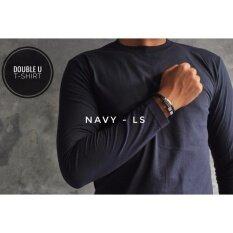 ขาย Double U T Shirt เสื้อยืดแขนยาวสีพื้น Navy สีกรม Long Sleeve Double U T Shirt ใน กรุงเทพมหานคร