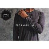 ขาย Double U T Shirt เสื้อยืดแขนยาวสีพื้น Top Black สีดำผ้าท็อปดราย์ Long Sleeve ราคาถูกที่สุด
