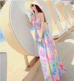 โปรโมชั่น Dr060 Women S Halter Neck S*xy Off Shoulder Gradient Flower Print Chiffon Maxi Long Dress S M L Intl ใน จีน