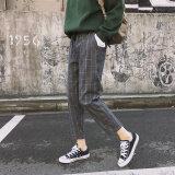 เกาหลีใหม่ลายสก๊อต Drawstring ฮาเร็มกางเกง สีเทาลายสก๊อต ฮ่องกง