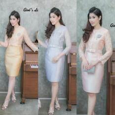 ขาย Dress ผ้าไหมบนลูกไม้แขนสามส่วน ถูก ใน กรุงเทพมหานคร