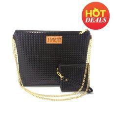 ซื้อ Duo Shiny Bag กระเป๋าสะพายข้าง กระเป๋าถือ พร้อมกระเป๋าคู่ Fashion สีดำ ออนไลน์