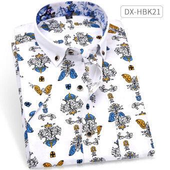 เสื้อเชิ้ต ผู้ชาย พิมพ์ลาย ไม่ต้องรีด สไตล์เกาหลี (DX-HBK21) (DX-HBK21)