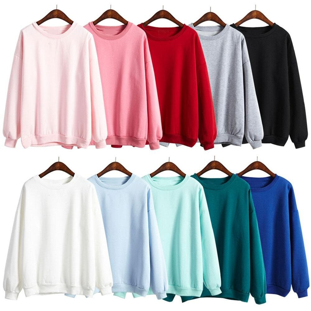 Eachgo Women Casual Round Collar Fleece Solid Color Long Sleeves Loose  Sweet Students Girls Blouse Hoody