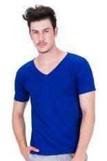 ขาย Ease Basics เสื้อยืดผู้ชายคอวี Bright Blue Ease เป็นต้นฉบับ