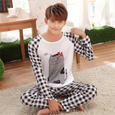 ราคา Easy ชุดนอนผู้ชายแฟชั่นเกาหลี เสื้อแขนขาว กางเกงขายาวลายตาราง สีขาวดำ รุ่น9011 ใหม่