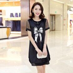 ซื้อ Edox เกาหลีลึกใหม่ฤดูใบไม้ผลิแขนสั้นชุดเดรสกระโปรง สีดำ ฮ่องกง