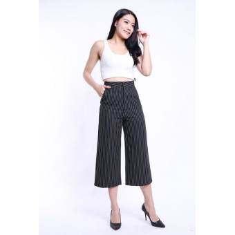 Eiffel Jeans กางเกงคูลอตต์ กางเกง 5 ส่วน ขาบาน DC008 (สีดำ)-
