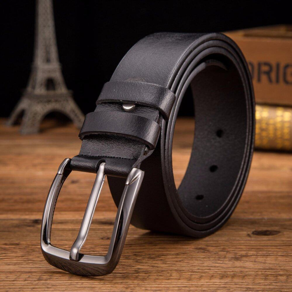 เข็มขัดผู้ชาย เข็มขัด ผู้ชาย เข็มขัด Belt Men's Casual Waistband Dress Leather Belt Pin Metal Buckle Strap Retro and Business Pattern Belt for Man - Black