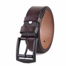 ซื้อ เข็มขัดผู้ชาย เข็มขัด ผู้ชาย เข็มขัด หนังแท้ Belt Men S Jeans Casual Waistband Dress Leather Belt Pin Metal Buckle Strap Dark Brown Unbranded Generic เป็นต้นฉบับ