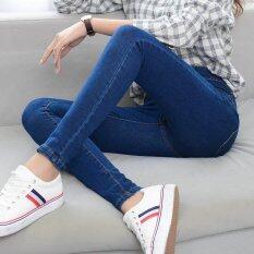 ขาย Elastic High Waist Women Jeans Denim Slim Feet Pencil Pant Dark Blue Intl ราคาถูกที่สุด